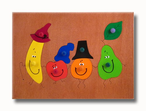 Picture of KidPuzzles Childs Wooden Peg Puzzle Dancing Fruit (B00564HNGY) (Pegged Puzzles)