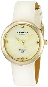 Akribos XXIV Women's AK687YGW Impeccable Swiss Quartz Diamond Mother-of-Pearl Satin Strap Watch
