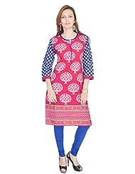 Shop Rajasthan Women's Cotton Self Design, Printed 3/4 Sleeve Kurti - B00Y9V1GFY