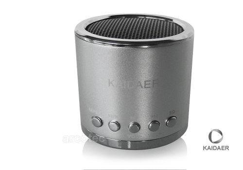 Kaidaer Mini PowerBass Lautsprecher / Boxen / Soundstation / Lautsprechersystem / Speaker für Samsung Galaxy S3 i9300, S2 i9100, I9003 Galaxy SL, Google Nexus S, Galaxy S II AT&T, Galaxy Gio S5660, S5620 Monte, S8600 Wave 3, S5260 Star II, i5800 Galaxy 3, Google Nexus S I9023 - mit Micro-SD Kartenslot & 3,5mm Klinkenanschluss - Farbe: Silber