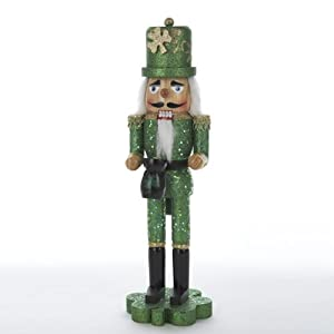 Kurt Adler 15-Inch Wooden Irish Nutcracker on Shamrock Base from Kurt S. Adler Inc.