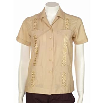Women guayabera embroidered short sleeve polycotton shirt