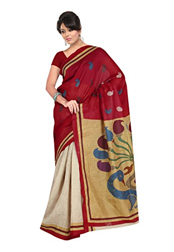 Fabdeal Indian Khadi Silk Marun Printed Saree