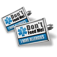 "Neonblond Cufflinks Medical Alert Blue ""I have Allergys"" - cuff links for man by NEONBLOND Jewelry & Accessories"