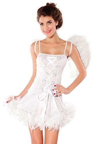 Smile YKK Women Sleeveless Sexy Angel Dress Tube Skirt Fancy Costume White