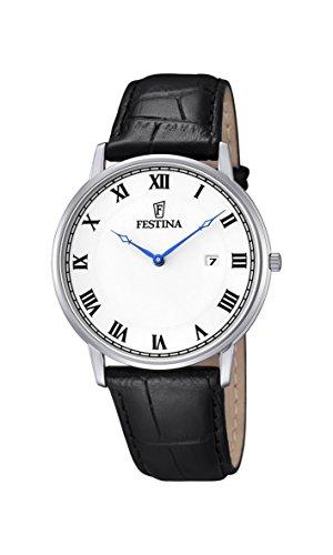 Festina-Reloj con mecanismo de cuarzo para hombre color blanco esfera analógica pantalla y correa de cuero negro f6831/3