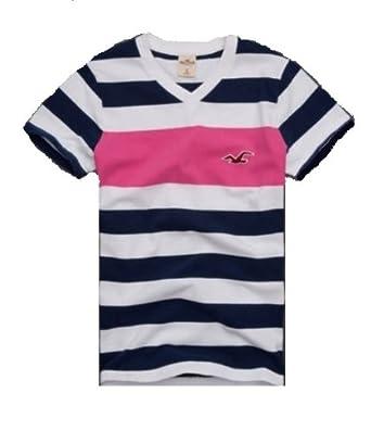 hollister mens striped whitedark navypink tshirt with