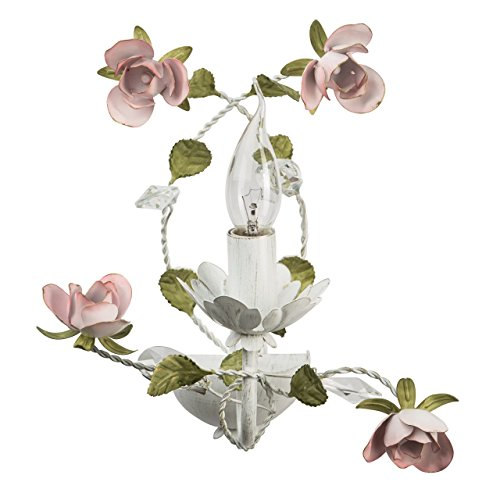 Applique style floral, romantique, magnifique, raffiné, armature en métal coloré en blanc 1 ampoule non-incl. E14 1x40W 230V