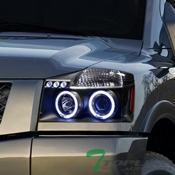 Black Led Dual Halo Projector Head Lights Lamps Signal Nissan Titan Armada (04 Nissan Titan Halos compare prices)