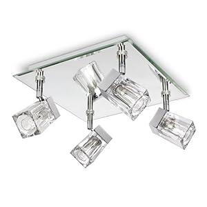 Modern Chrome Ice Cube 4 Way IP44 Bathroom Ceiling Light Spotlight