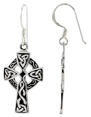 Sterling Silver High Cross Celtic Trinity Dangle Earrings, 1 1/2 inch (38 mm) tall
