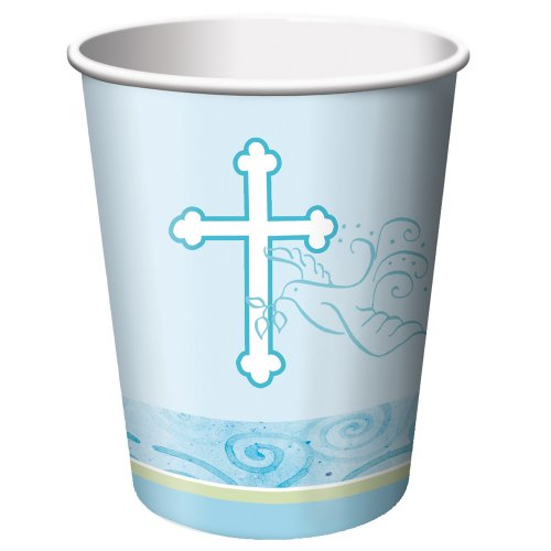 Creative Converting Faithful Dove Cross Hot or Cold Beverage Cups, Blue, 8 Count