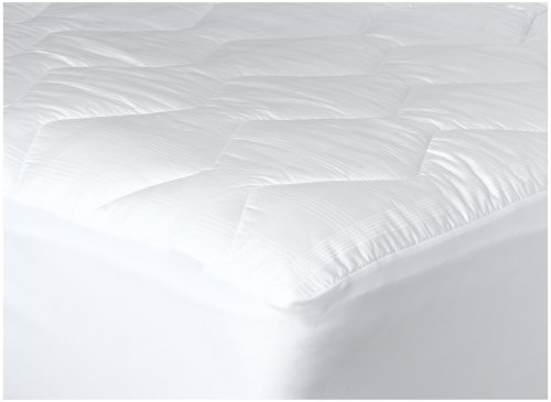 Newpoint International 370-Thread Count Mercerized Cotton Windowpane Plaid Mattress Pad, Queen