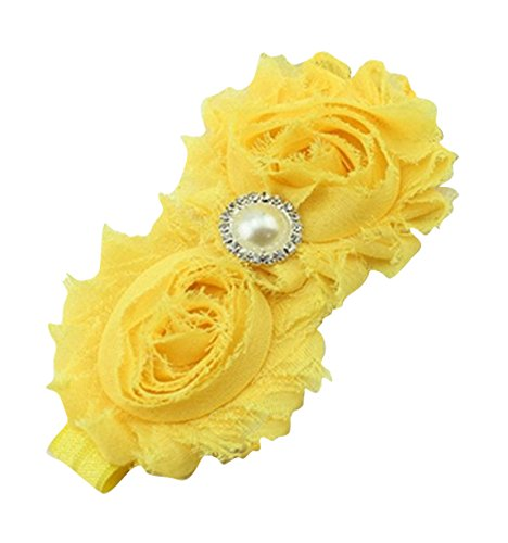 PinkXenia Newborn Infant Flower Pearl Shabby Baby Yellow Soft Elastic Headband