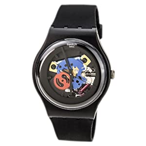Swatch Originals Black Lacquered Black Silicone Unisex Watch SUOB101