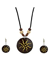 Arts N Crafts Chain & Drops Ethnic Necklace For Women Gaj055 ( Brown )
