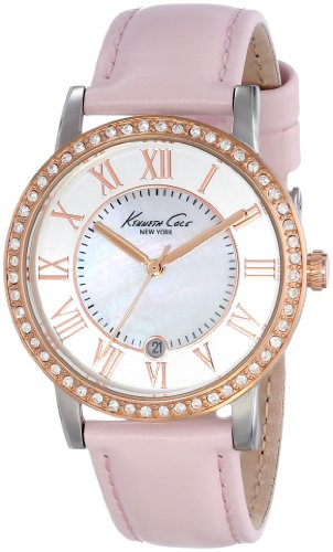 kenneth-cole-new-york-womens-kc2845-classic-silver-dial-gold-detail-roman-numerals-pink-strap-watch