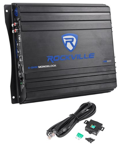 Rockville Rva600.1 1200 Watts Peak/200 Watts Rms Mono Block Class Ab Car Amplifier With Bass Remote And Wiring Kit