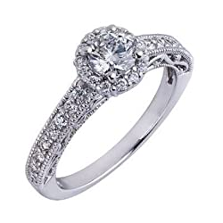 Natural Round Brilliant Cut Diamond Vintage Engagement Ring Millgrain Edge 14k White Gold ( 1 Carat, VS Clarity, F Color)