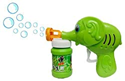 Dfs'S Original Green Toon Hand Pressing Bubble Making Toy Gun + Bubble Liquid Free
