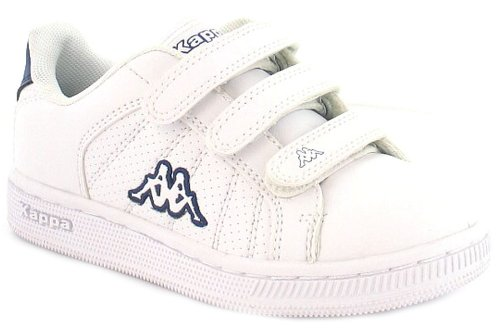 New Boys/Childrens White Kappa Strap Velcro Fastening Tennis Shoes - White/Navy - UK 8-2