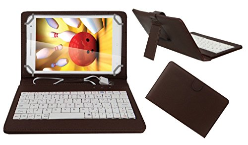 Acm Premium Usb Keyboard Tablet Case Holder Cover For Iball Slide Cuddle A4 With Free Micro Usb Otg - Brown