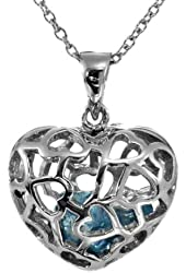 "Sterling Silver Blue March Birthstone Aquamarine-Simulated Heart Pendant Necklace 18"" SPJ"
