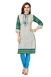 Snehal Creation-The Grey Grace Long Cotton Tunic with Printed Design (PR-1661_Variyali_44)
