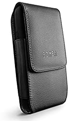 Galaxy S6, Galaxy S6 Edge Case, Bomea Leather Case Belt Clip Holster Pouch Cover for Samsung Galaxy S6, S6 Edge - Swivel Belt Clip with Magnetic Flip Closure (Also Fit with Another Case On) Black