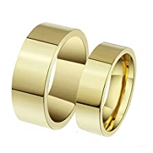 buy Daesar Mens Wedding Bands Stainless Steel Ring Gold Rings Smooth Shinny With Gift Box Size 7
