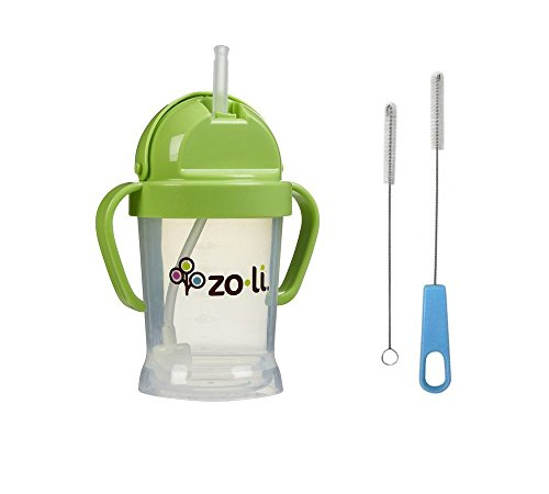 Zoli Bot Straw Sippy Cup with Sippy Cup Cleaner - Green - 1