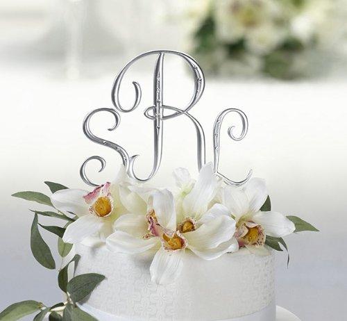 Raebella New York 3Pc Brushed Silver & Rhinestone Monogram Letter Cake Topper Initial Set