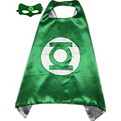 Superhero or Princess CAPE & MASK SET Kids Childrens Halloween Costume (Green & White (Green Lantern))