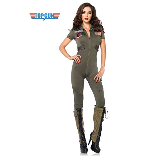 Leg Avenue Women's Top Gun Flight Suit Costume, S, M, L, XL