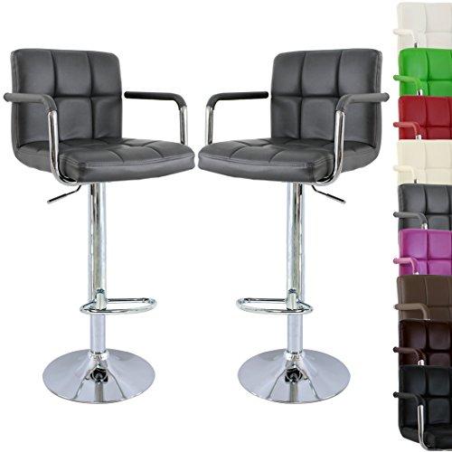 Woltu, WOLTU BH16gr-a Lot de 2 tabourets de bar design avec accoudoirs,2  Chaise 01f4c529d2ec
