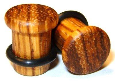 42mm Organic Zebrawood Single Top Hat Exotic Wood Plugs