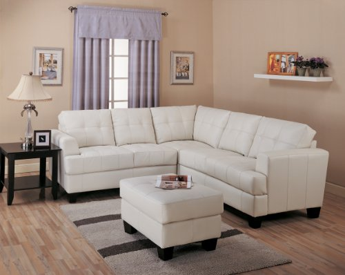 Inland Empire Furniture Palani Cream Bonded Leather Sofa Sectional with Ottoman