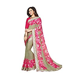 Pramukh saris Womens Georgette Flower Printed WIth Lace Work Sari(Pink)