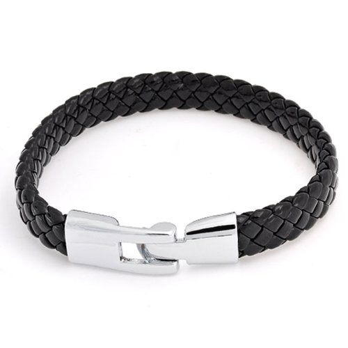 Bling Jewelry Unisex Black Braided 8mm Flat Leather