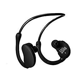 LSLYA(TM) neckband sports bluetooth headset Wireless stereo headphone Waterproof sweatproof swimming earbuds smart noise reduction running headphone (Black)