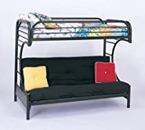 "Hot Sale Twin Full Size Futon Metal Bunk Bed with ""C"" Style in Black Finish"