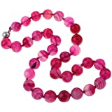 TreasureBay FAB 14mm Pink Agate Necklace With Magnetic Clasp 47cm - Presented in a Beautiful Jewellery Gift Box