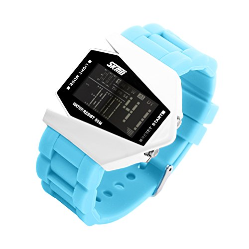 Skmei (Buy One Get One Free Total 2) Fashion Lover Military Led Display Unisex Watch Colorful Light Digital Sport Waterresistant Stealth Fighter Wrist Watches For Men And Women With Silicone Strap Best Cool Gift For Christmas (Light Blue)