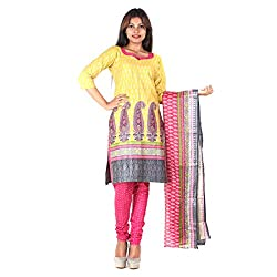 RangoliSF Woman's Cotton Unstitched Dress Material (RSFT1001 Yellow)