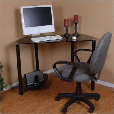 Buy Low Price Comfortable Black Glass Corner Computer Desk (Black) (45″W x 29.75″H x 21.5″D) (B004CWZFLQ)