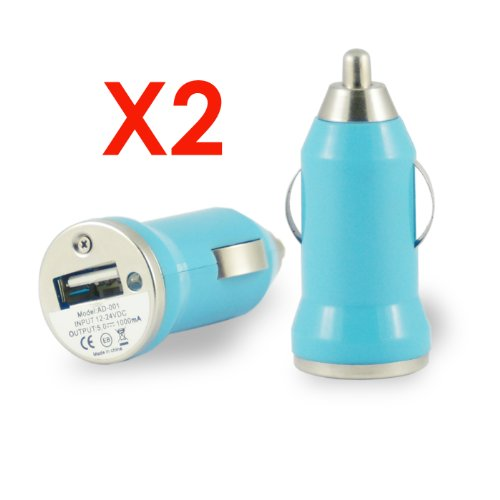 x2 Blau - KFZ USB Netzteil / Ladegerät USB Strom Adapter für Apple iPhone 5 / 5S / 5C / 4 / 4G / 3 / 3G , Handy , Navi , Navigationsgerät , MP3 Player , iPad , iPod , iPod mini , iPod shuffle , iPod classic , iPod nano