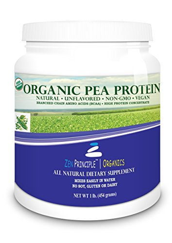 1 lb. Ultra Premium Organic Pea Protein Powder. USDA Certified ONLY from USA and Canada Grown Peas. No GMO, Soy or Gluten. Vegan. Full Spectrum Amino Acids (BCAA). More Protein than Whey. 80% Protein. (On 1000 Cap Bcaa compare prices)