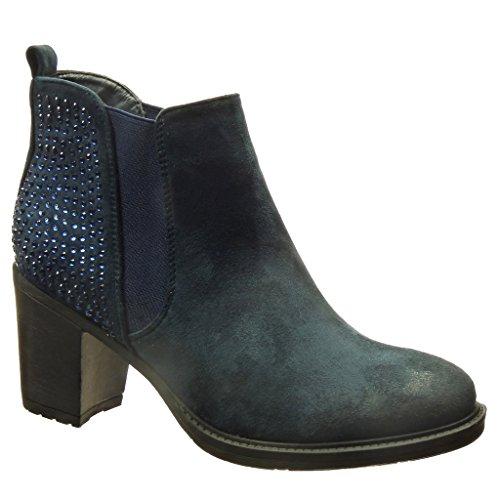 Angkorly - Scarpe da Moda Stivaletti - Scarponcini chelsea boots donna strass Tacco a blocco tacco alto 7 CM - Blu WG02 T 38