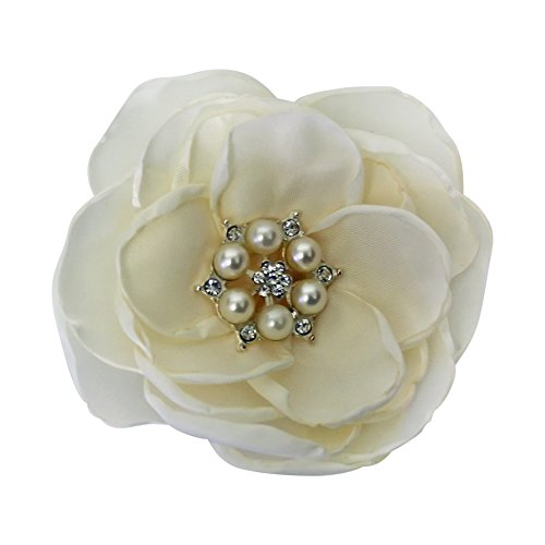 MIA White Satin Flower Rhinestone Pearl Hair Clip Wedding Hair Clip Bridal Hair Clip Bridesmaid Hair Clip First Communion Hairpiece Girls Hair Clip (Ivory)