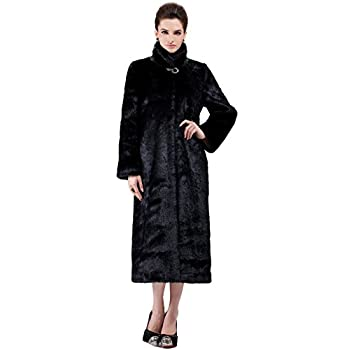 Adelaqueen Women's Elegant and Vintage Outerwear Mink Fabulous Faux Fur Coat
